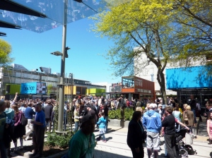 People enjoy the new City Mall under a typical Canterbury blue sky